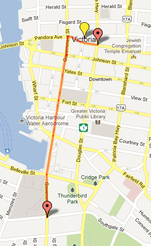 SlutWalk Victoria-Route Map